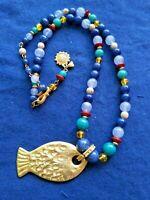 Liz Claiborne Marked Necklace Gold Tone Beads Dangling Fish Pendant Circa 1985
