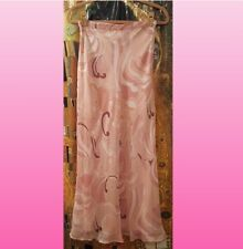 Chadwicks long maxi sheer pink mauve and brown skirt, fully lined, Size 4