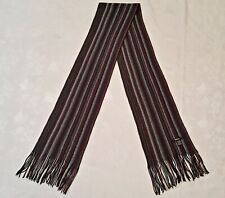 SCOTLAND VINTAGE AUTHENTIC TIE RACK KNITTED STRIPED WOOL LONG MEN'S FRINGE SCARF