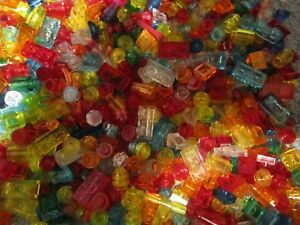 Lego 100 Coloured Transparent / Clear 1 and 2 pin mini Bricks - Shaped / Round