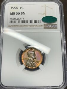 1956 Lincoln Cent MS66BN NGC CAC Dual Sided Toning CAC POP 1/0!! Highest Graded