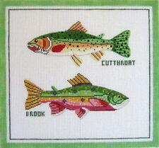 Needlepoint Handpainted TROUT Cutthroat Brook Silver Needle 16x16
