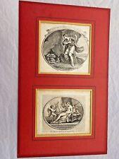 Due incorniciato Antico Georgiano incisa Stampato biglietti Francesco Bartolozzi C 1780