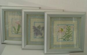 Framed Print x 3 Silver Blue Pink Green White Lilac Floral Carnation Lily
