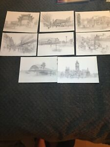 William Geldart - Set of 8 sketched print postcards of Manchester