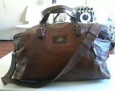 SALVATORE FERRAGAMO Brown Leather Duffle Travel Bag Authentic Italy Made $1599!!