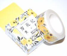Japanese WASHI Tape ~ 7m x 15mm ~ Yellow Roses & Leaves Design ~  Embellishment