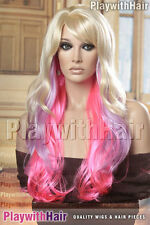 SUPER! XXXLong Flowing Skin Top Wig Blonde Purple Violet Pink Tips