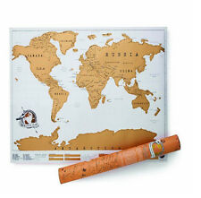 Golden Travel Edition Scratch Off World Map Personalized Journal Log Poster UK