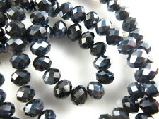 100pcs Faceted Glass Crystal Rondelle Loose Beads Necklace&Bracelet Findings 6mm
