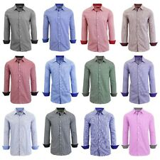 Mens L/S Dress Shirts Casual Button Down Stripe Gingham Plaid Checker 20 Colors
