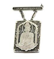 alte filigrane Brosche - 835er Silber - Buddha