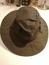 Vintage Barbour Cera impermeable ala ancha D596 Bush Sombrero Tamaño S Azul + Pluma