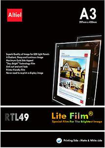 RTL49: A3 x 10sheets- Premium Back lit Paper /  Backlit Film for LED Light Panel