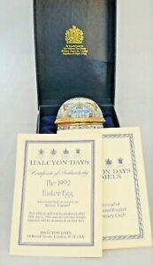 HALCYON DAYS Bilston 1992 EASTER EGG Enamel Trinket Box - Boxed & Certificate