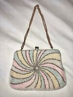 VTG 60'S WHITE PINK BLUE YELLOW BEADED SWIRL COCKTAIL CLUTCH PARTY BAG PURSE
