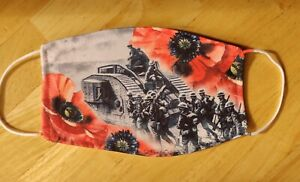 Face Mask Poppy War Remembrance Tank Mark IV Reusable Protection Face Cover UK