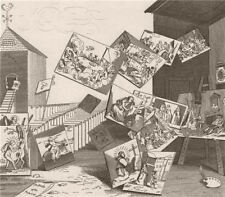 'The battle of the pictures'. After William HOGARTH 1833 old antique print