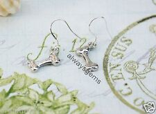 Dog Bone treat silver tone charm Earrings for dog lover, 925 Silver  hooks New