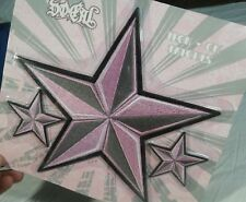"Iron On So-Cal Patches 9"" Star 3pc Embroidered Black Pink Nautical NWT"