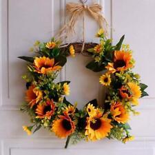 Artificial Sunflower Garland Wreath Pendant Home Door Wall Hanging Flower Decor