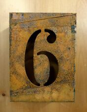 "8"" RUSTY RUSTED INDUSTRIAL METAL BLOCK CUT SIGN NUMBER SIX #6 house address art"