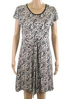 Next Animal Print Round Neck Black Beige Tie Front New Jersey Summer Tunic Dress