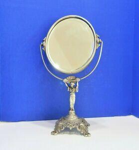 Antique Cast Metal Asian Figural Standing Oval Vanity Mirror