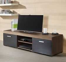 Spacious TV Stand Dark Wood And Black Big Storage Unit Media Console Cabin Table