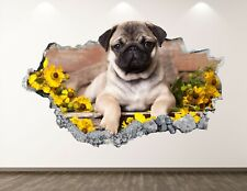 Pug Dog Wall Decal Art Decor 3D Smashed Sunflower Poster Kids Room Sticker Bl184
