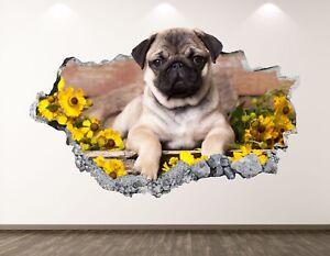 Pug Dog Wall Decal Art Decor 3D Smashed Sunflower Poster Kids Room Sticker BL184