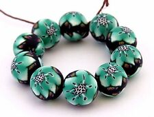 Beads, flower beads, Turquoise  green & white beads, DIY Crafts, Clay,10 pieces