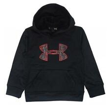 Under Armour Boys Black & Printed Big Logo Pull-Over Hoodie Size 5