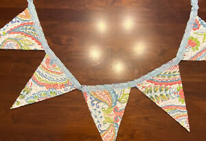"""NEW Handmade Quilt Bunting Pennant Banner 54"""" Vintage Wholecloth Quilt & Lace"""