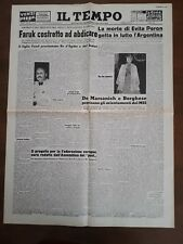 La morte di Evita Peron lutto in Argentina / ristampa Il Tempo anno 1952