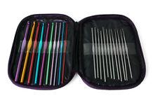 Color mezclado Aluminio Ganchillo Agujas Para Bricolaje Kit Herramientas + Cubierta de hilo de ganchillo