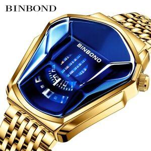 BINBOND Stainless Steel Quartz Watch Men's Military Sport Wristwatch Waterproof