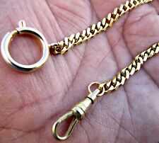 Gold Plated Pocket Watch Chain With Spring Ring Clasp and Swivel Hook Hook