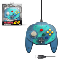 Tribute 64 N64 USB Wired Game Pad Controller Blue for Nintend Switch / PC / Mac
