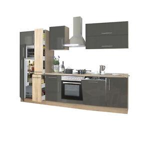 Küchenzeile hochglanz braun Einbauküche mit Elektrogeräten Spülmaschine 310 cm