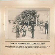 """PHOTO PRESSE c.1910 - Curiosité Drôle de """"Chapeau-Parasols"""" Athènes Grèce - 142"""