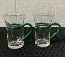 Inspiration Glass Coffee Mugs. Bodum Style. Set of (2) Green Handles. MINT COND!