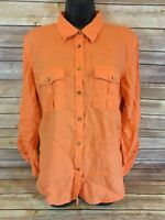 Lauren Ralph Lauren Linen Long Sleeve Shirt Size Large Womens Orange Button Down