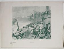 1895 Gravure Abandonné Léon Couturier marine bateau naufrage