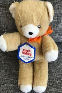 "Chad Valley Brown Teddy Bear 14"" Soft Toy Chiltern Hygienic Vintage Original Tag"