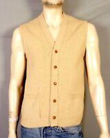 vtg 60s 70s Jersild Solid Beige 100% Wool Men's Sweater Vest pockets SZ M