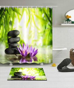 """72X72"""" Leisure Spa Zen Garden Flowers Shower Curtain Waterproof Bathroom Hooks"""