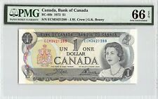 New listing Canada 1973 P-46b Pmg Gem Unc 66 Epq 1 Dollar (Crow-Bouey)