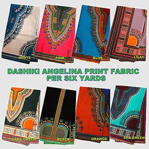African  Dashiki Angelina Java 100% Cotton Print 4 Dress Making Per Six Yards