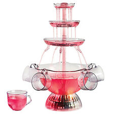 3-TIER LIGHTED PARTY FOUNTAIN ~ CHAMPAGNE PUNCH BEVERAGE SET + 5 CUPS ~ LPF-150